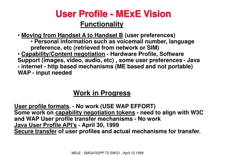 User Profile - MExE Vision