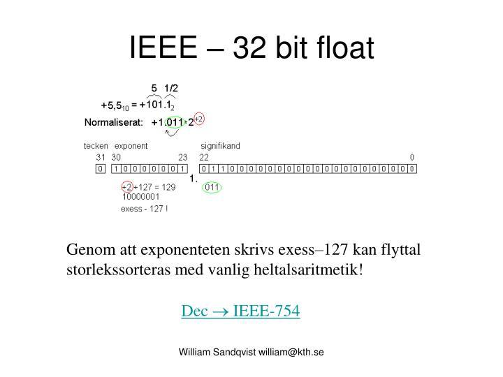 IEEE – 32 bit float