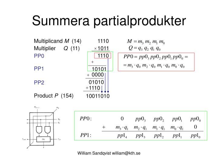 Summera partialprodukter