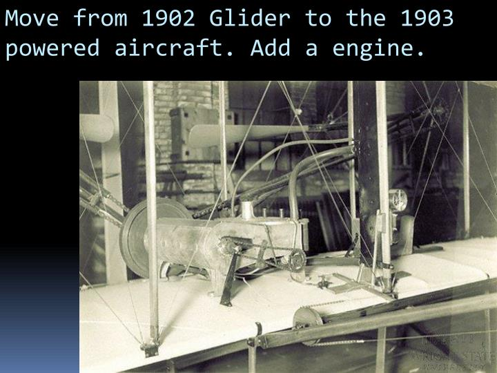 Move from 1902 Glider to the 1903 powered aircraft. Add a engine.