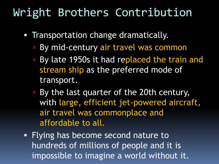 Wright Brothers Contribution
