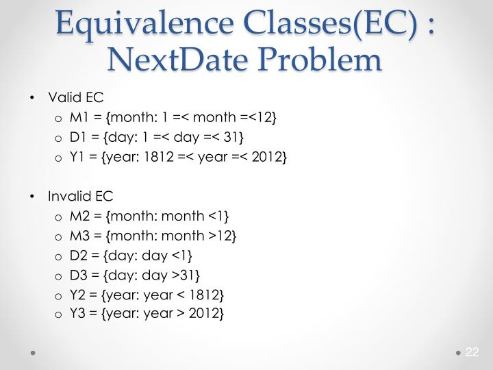Equivalence Classes(EC) :