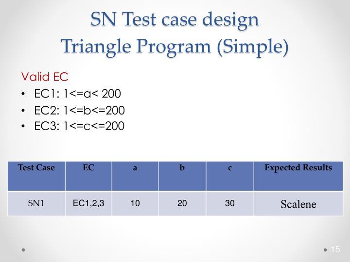 SN Test case design