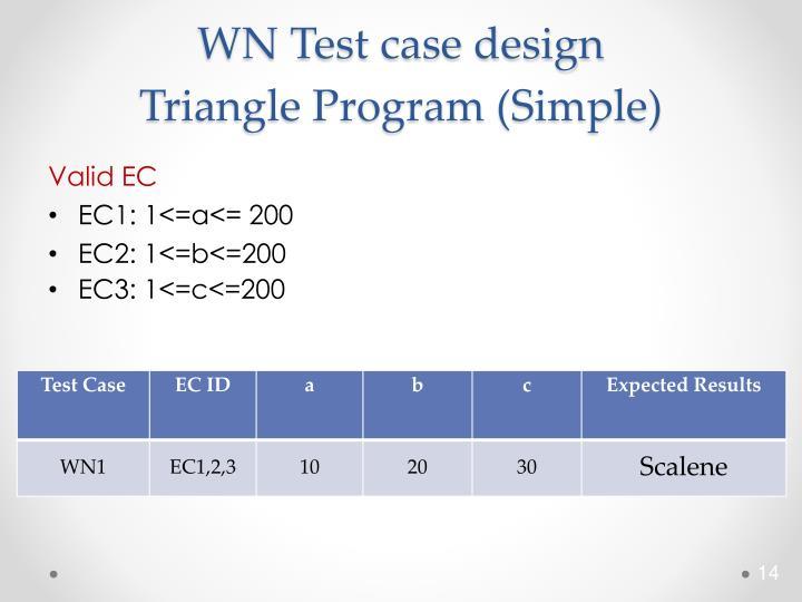 WN Test case design