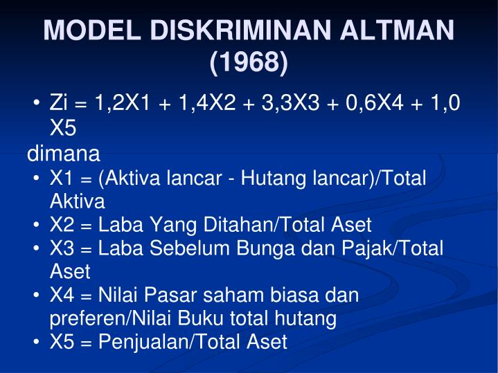 MODEL DISKRIMINAN ALTMAN (1968)