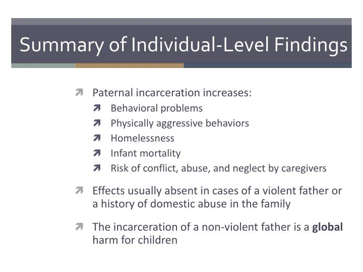 Summary of Individual-Level Findings