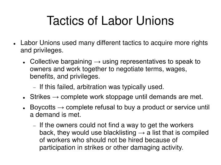 Tactics of Labor Unions