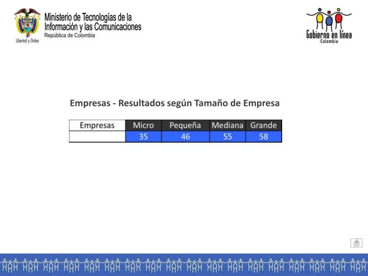 Empresas - Resultados según Tamaño de Empresa