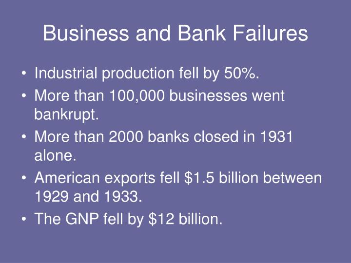 Business and bank failures
