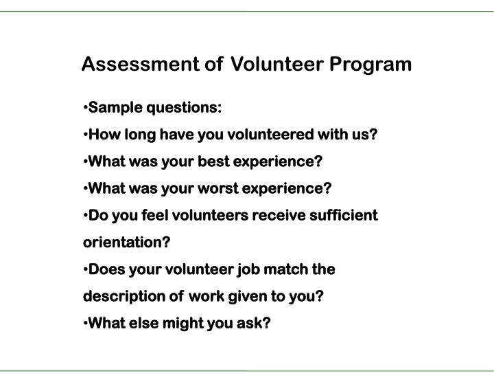 Assessment of Volunteer Program