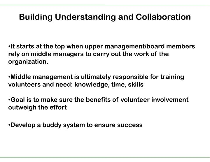 Building Understanding and Collaboration