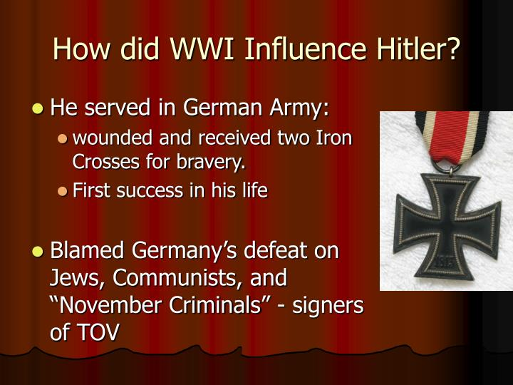 How did WWI Influence Hitler?