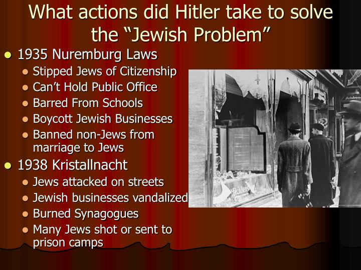 "What actions did Hitler take to solve the ""Jewish Problem"""