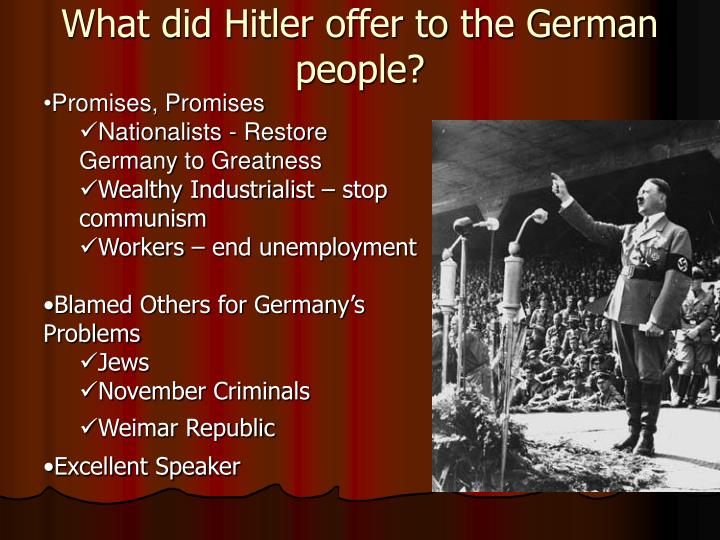 What did Hitler offer to the German people?