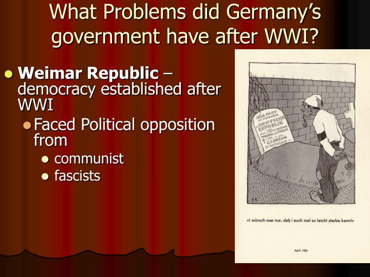 What Problems did Germany's government have after WWI?
