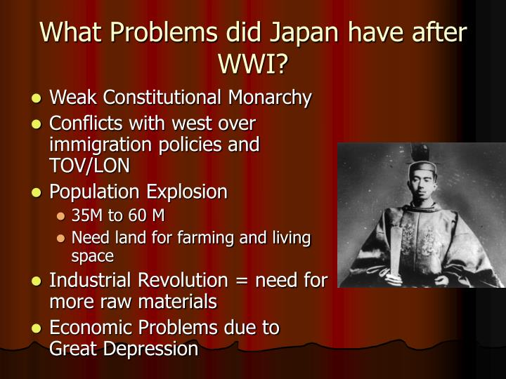 What Problems did Japan have after WWI?