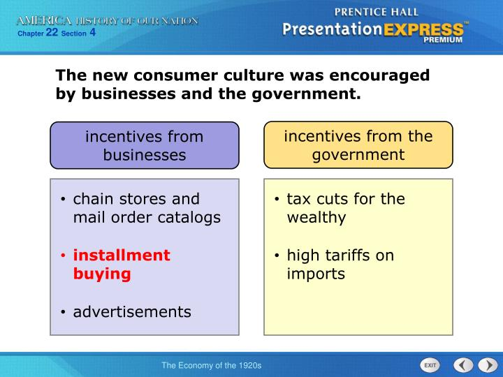 The new consumer culture was encouraged by businesses and the government.