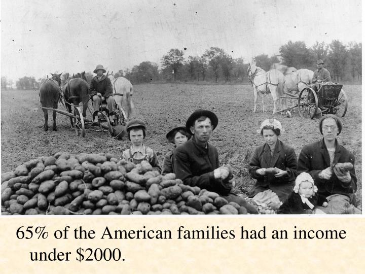 65% of the American families had an income under $2000