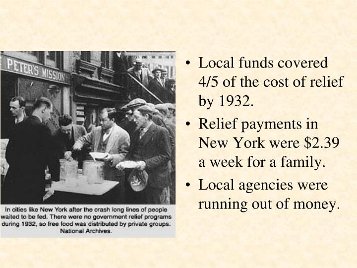 Local funds covered 4/5 of the cost of relief by 1932.