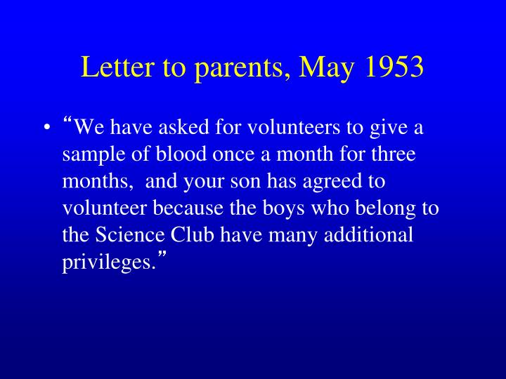 Letter to parents, May 1953