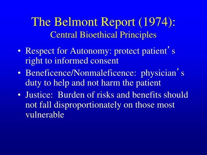 The Belmont Report (1974):