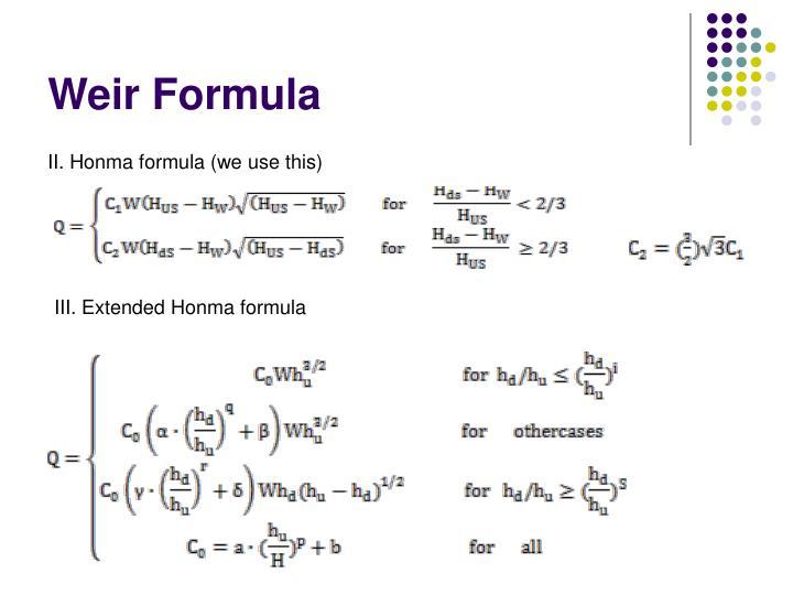 Weir Formula