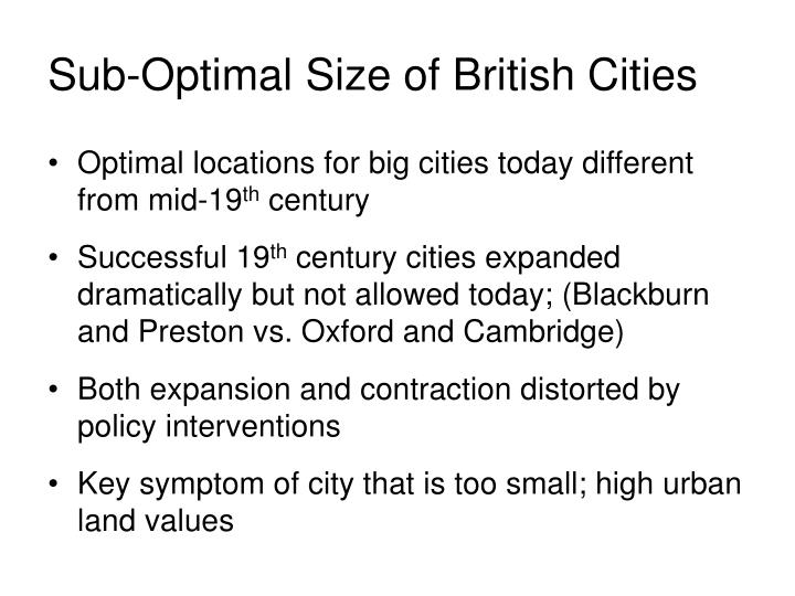 Sub-Optimal Size of British Cities