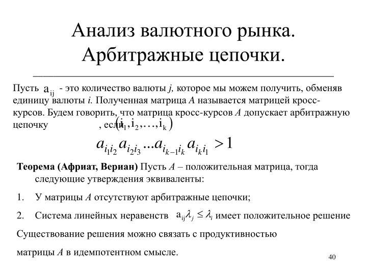 Анализ валютного рынка. Арбитражные цепочки.