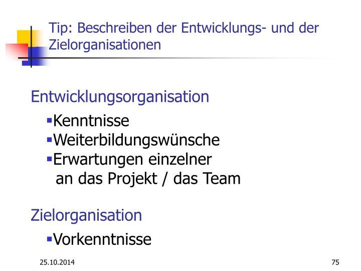 Tip: Beschreiben der Entwicklungs- und der Zielorganisationen