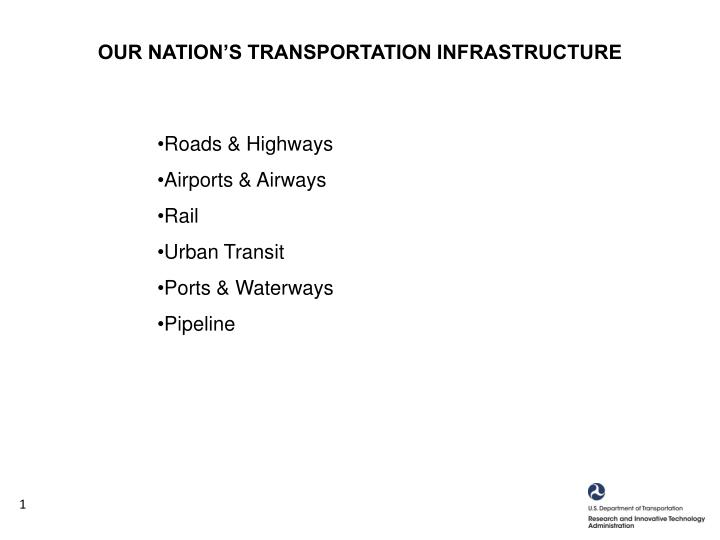 OUR NATION'S TRANSPORTATION INFRASTRUCTURE