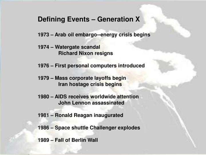 Defining Events – Generation X