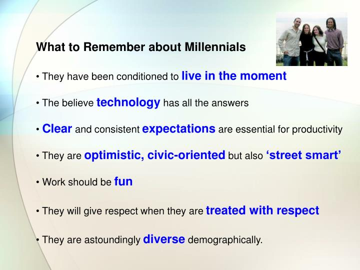 What to Remember about Millennials