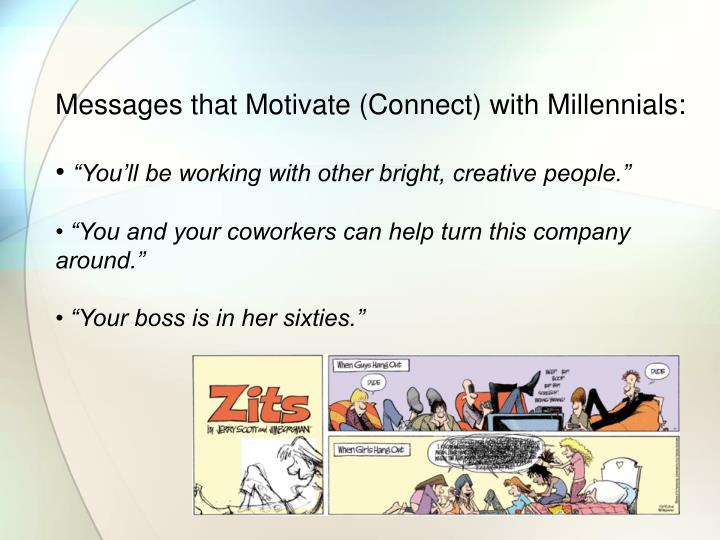 Messages that Motivate (Connect) with Millennials: