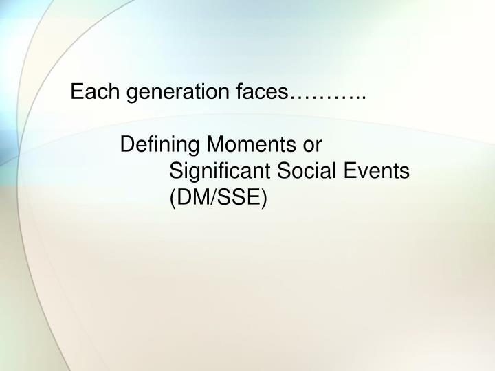 Each generation faces………..