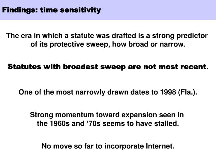 Findings: time sensitivity