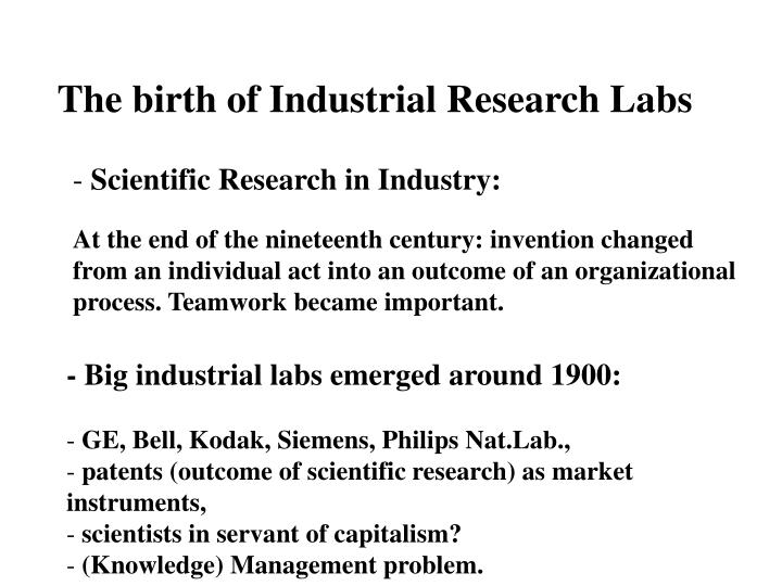 The birth of Industrial Research Labs
