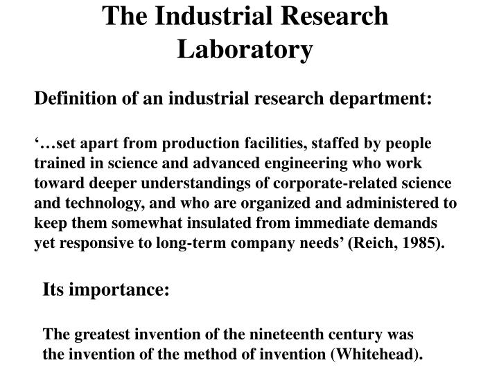 The Industrial Research Laboratory