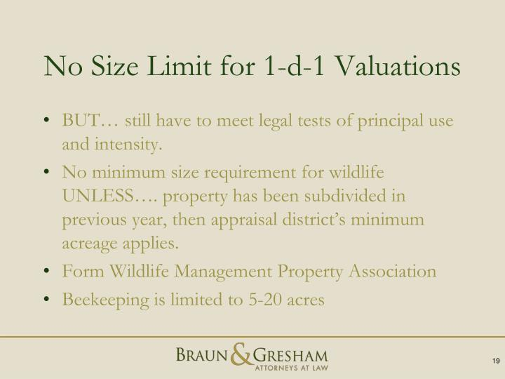 No Size Limit for 1-d-1 Valuations