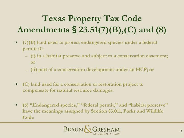 Texas Property Tax Code Amendments