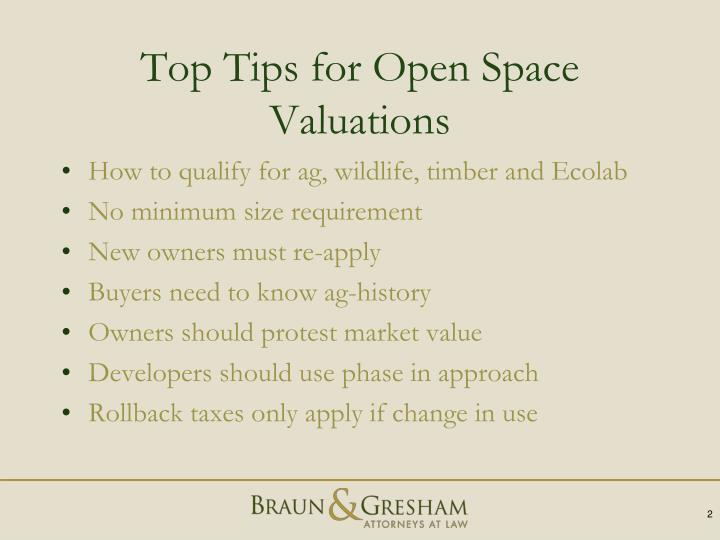 Top Tips for Open Space Valuations