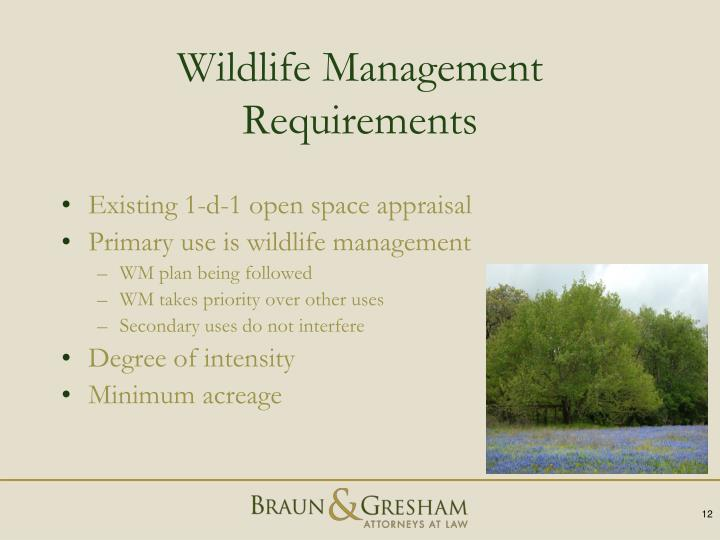 Wildlife Management Requirements