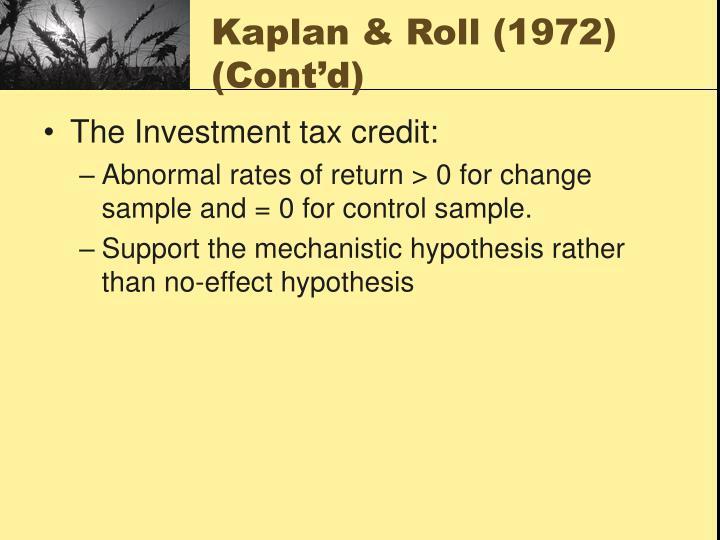 Kaplan & Roll (1972)