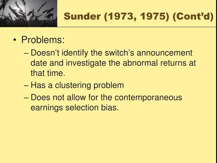 Sunder (1973, 1975) (Cont'd)
