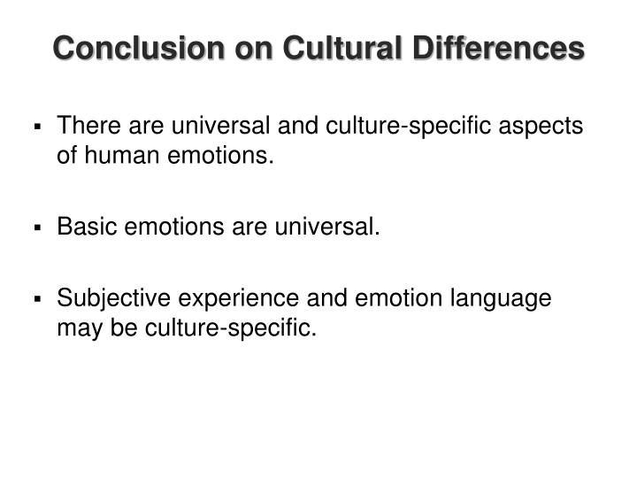 Conclusion on Cultural Differences