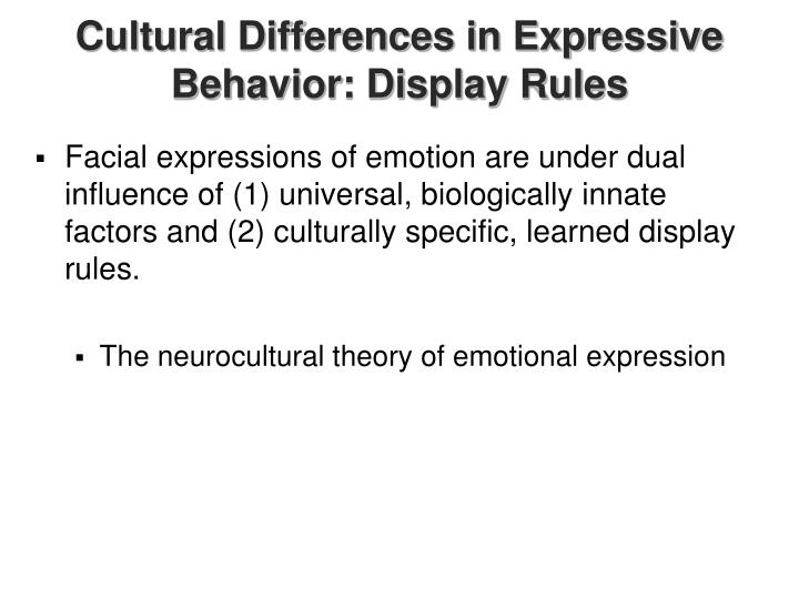 Cultural Differences in Expressive Behavior: Display Rules