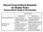 recent cross cultural research on display rules cross cultural study in 30 countries