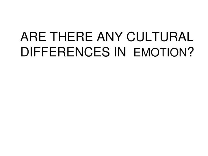 ARE THERE ANY CULTURAL DIFFERENCES IN