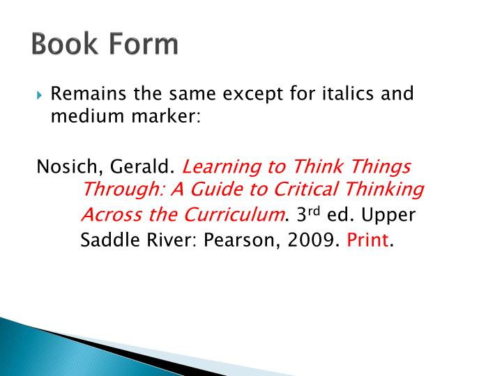 Book Form