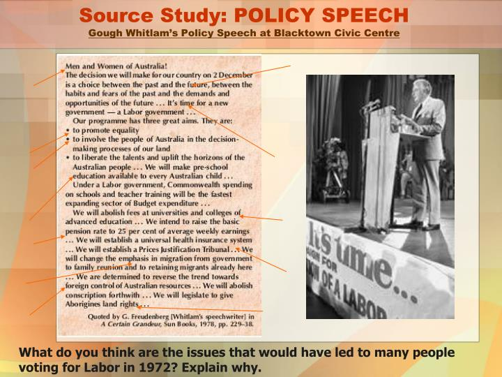 Source Study: POLICY SPEECH