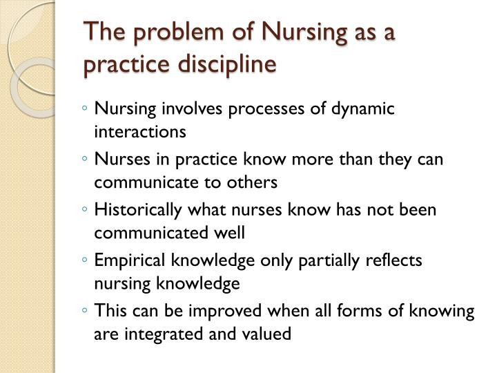 fundamental patterns knowing in nursing In healthcare, carper's fundamental ways of knowing is a typology that attempts  to classify the different sources from which knowledge and beliefs in professional  practice (originally specifically nursing) can be or have been derived it was  proposed by barbara a carper, a professor at the college of nursing  the  typology identifies four fundamental patterns of knowing.